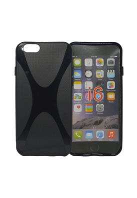 Rubber Case Cover Softcase Schutz Hülle Handy X-Design Schwarz für iPhone 6 / 6S