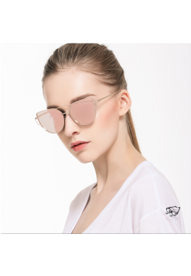 Damen Cat Eye Vintage Retro Fashion Look Sonnenbrille Polarisiert Gold/Rosa